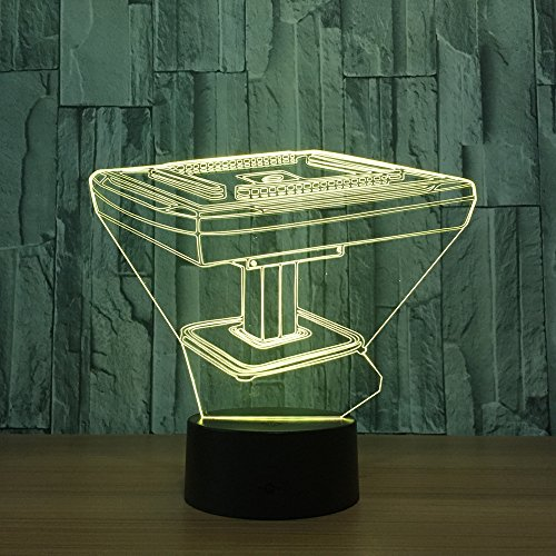 DKIPN Led Nachtlicht 3D Mahjong Spieltisch Illusion Lampe Stimmungslicht 16 Farbwechsel Berührungsschalter Mit Usb Kabel Schreibtisch Tischlampe Kinder Geburtstag Weihnachtsgeschenke Dekoration
