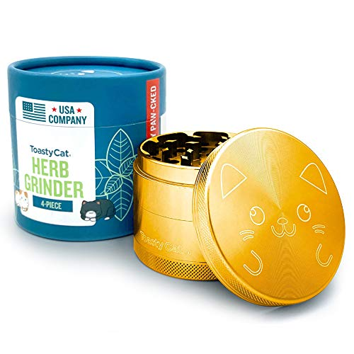 TOASTYCAT Best Herb Grinder, Large 2.5 Inch Dia, 4-Piece Anodized...