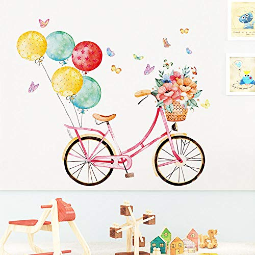 Pegatinas de pared de bicicleta de globo multicolor para habitaciones de s decoración de pared de habitación de niñas calcomanías de pared de PVC decoración de habitación murales decoración del hogar