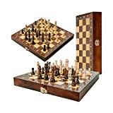 YEYUTF Magnético ajedrez de Madera,Juego de ajedrez Plegable, Damas de Madera de Lujo, Juego de Mesa 30 X 30 CM