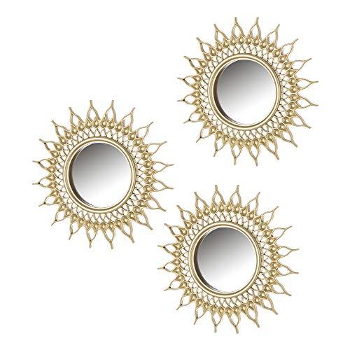 Set de Espejos Sol exótico Dorado de Polipropileno de ø 26 cm - LOLAhome