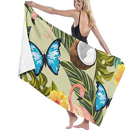Toalla de playa de microfibra Mariposas con flamencos y flores tropicales toalla de baño 80X130