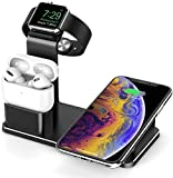 Wireless Charger Stand, VIGLT 3 in 1 Wireless Charging Station Dock Compatible with Apple Watch Series 5/4/3/2/1, AirPods Pro Airpods and iPhone 11/11 Pro/11 Pro Max/XS Max/XR/X/8P(No Adapter) Black