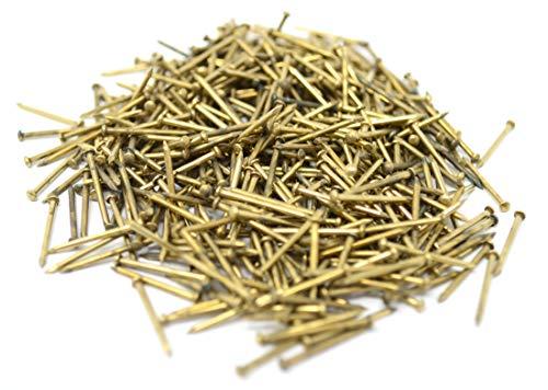 Design61 Rundkopfstifte Nägel Nagel 1,0 x 15 mm Eisen vermessingt 50g ca. 480 Stück
