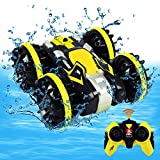 Toys for 5-10 Year Old Boys Amphibious RC Car for Kids 2.4 GHz Remote Control Boat Waterproof RC Monster Truck Stunt Car 4WD Remote Control Vehicle Gifts Girls Adults All Terrain Water Beach Pool Toy