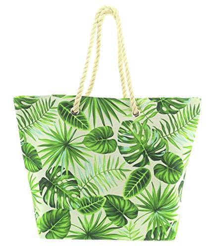 Strandtasche Exotisch Tropisch Blumen Blätter Summer Feeling Shopper Tasche Strand Beach Bag Umhängetasche Urlaub (Blätter)