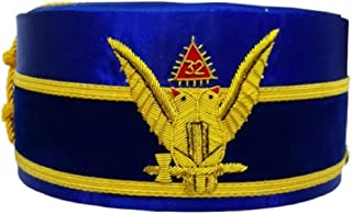 Regalia Lodge 32° grado Rite Wings Up Blue Cap Bullion ricamato a mano