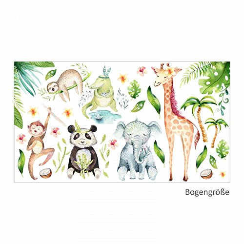 113 Wandtattoo Dschungeltiere Elefant Giraffe Panda Faultier Affe - in 6 Größen - Kinderzimmer Babyzimmer Aquarell Watercolor - schöne Wanddeko Wandbild Aufkleber Sticker - Größe 1000 x 560 mm