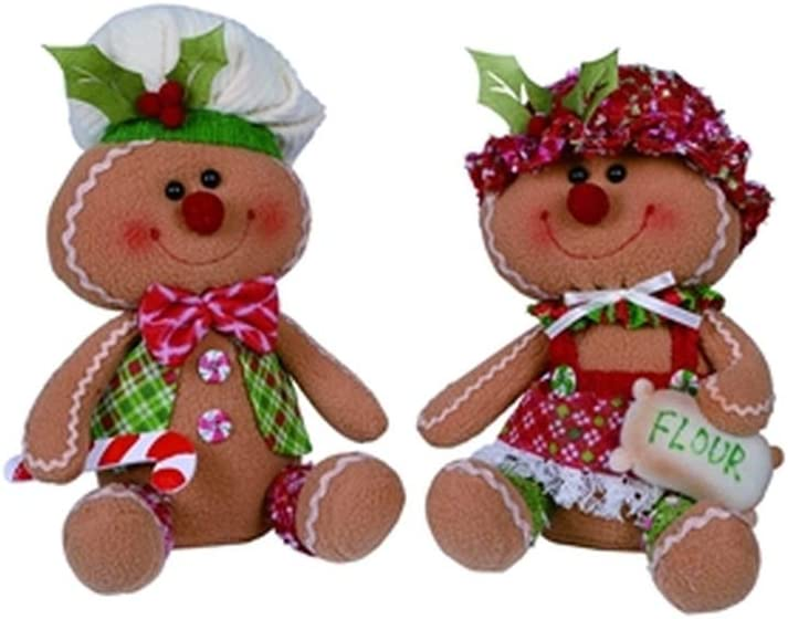Transpac Imports, Inc. His and Her Gingerbread Bakers 10 x 7 Plush Christmas Figurine Set of 2