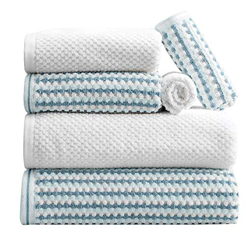 Great Bay Home 6-Piece Towel Set. 100% Cotton Multi-Striped Bathroom Towels. Quick Dry and Absorbent Towels. Set Includes 2 Bath, 2 Hand, and 2 Wash. Milos Collection. (6 Piece, Light Blue/Dark Blue)