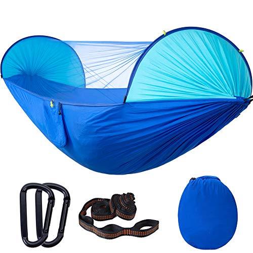 Bling Camping hamac avec moustiquaire, Portable Speed Auto Open Backyard Garden Parachute hamac Tarp pour extérieur Randonnée pédestre Voyage,Bleu