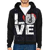 JUN7MING HAT Men's Sleeve Hoodie Chow Dog Lovers Zip Up Sportswear Jackets Black