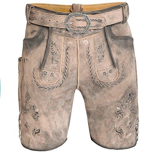 MarJo Trachten Kurze Lederhose Samuel in Hellbraun, Größe:56, Farbe:Hellbraun