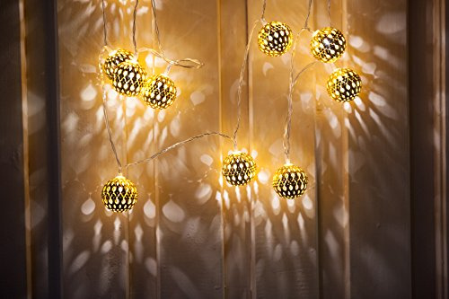 WED Globe String Lights, 7.4ft 16 LED Fairy Moroccan Ball...