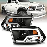 AmeriLite LED Plank Tube Black Square Projector Headlights Assembly for 2009-2019 Dodge Ram 1500 2500 3500 Pair - Driver and Passenger Side