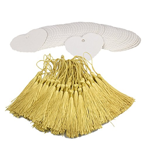 Makhry 100 Pcs Imported Hard-Paper Kraft Paper Gift Tags Wedding Favor Bonbonniere Favor Thank You Gift Tags with 100pcs Handmade Silky Tassels (White Heart+Light Gold)
