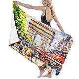 FOURFOOL Toalla de Playa de Microfibra,Arco del Triunfo París Francia Fondo Pintado,Toalla Deportiva Secado Rápido Absorbente para Deportes Viajes Playa Camping