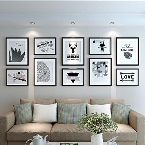 Cadre décoratif Bois 10 Pcs/ensembles Collage Photo Frame Set, cadres photo Vintage, mur de cadre photo famille, cadre photo de mariage bricolage cadre photo ensembles pour mur (Couleur : D)