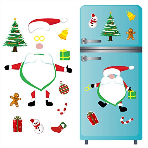 Christmas Refrigerator Magnets Set 17pcs Cute Funny Gnome Fridge Magnetic Stickers Holiday Decorations for Kitchen, Garage Doors, Office Cabinets (Gnome Santa)
