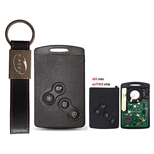 KASER Llave Mando Coche Electrónica 4 Botones Compatible para Renault Megane Scenic Laguna Koleos Clio (433MHz 46 PCF7952 Chip) Transponder Listo para Programar