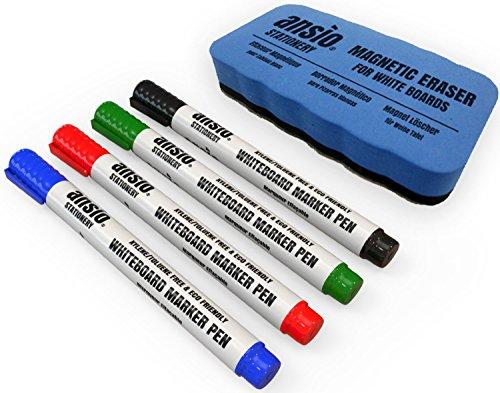 ANSIO Juego de rotuladores para pizarra (borrado en seco, incluye borrador magnético)