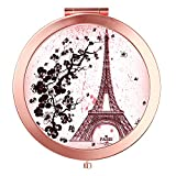 HeaLife Paris Eiffel Tower Compact Mirror Rose Gold Travle Makeup Mirror [New Version] Double Sides Magnification Portable Hand Mirror Round Metal Pocket HandHeld Mirror for Women and Girls