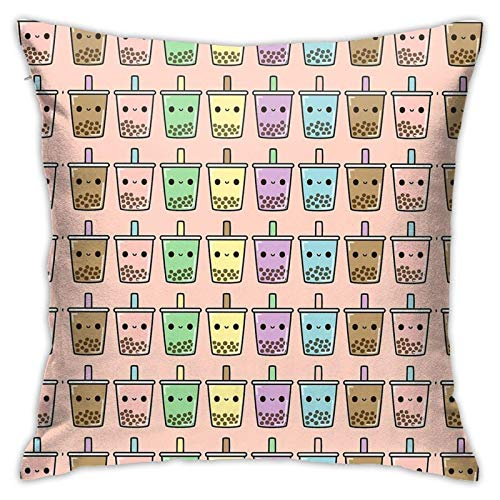 lymknumb Cute Cartoon Bubble Tea Pillow Covers Cushion Cover Pillowcases 18'X 18'Inch for Home Bed Sofa Car