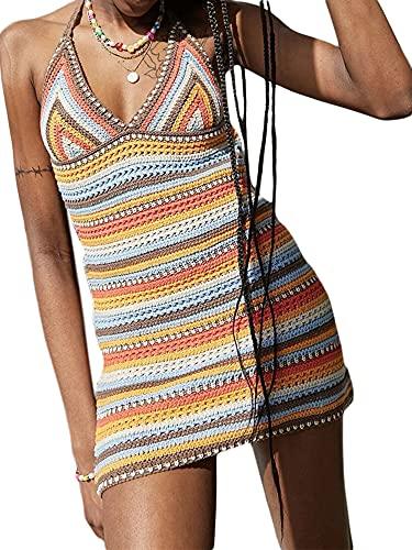 Adaye Women's Summer Halter Bodycon Mini Dress Sleeveless Color Block Y2K Short Dress (Orange, Medium)