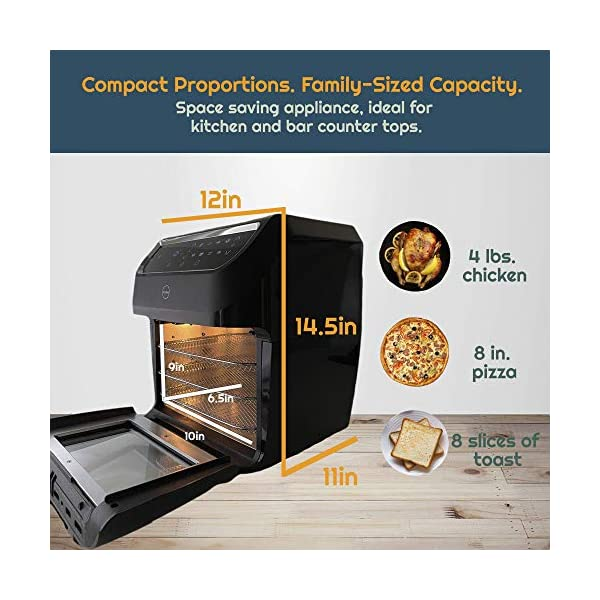 iCucina Air Fryer  10 Qt Actual Capacity 1700W Power Frier  Non-Stick Basket Cooker With Additional Accessories Oil Free…