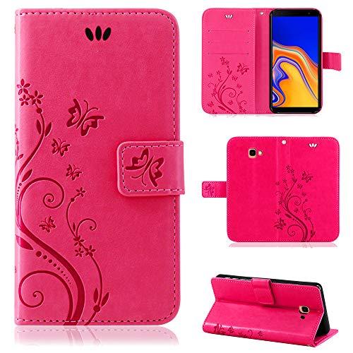 betterfon | Flower Hülle Handytasche Schutzhülle Blumen Klapptasche Handyhülle Handy Schale für Samsung Galaxy J4 Plus 2018 Pink