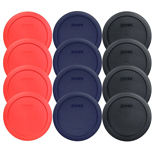 Pyrex 7201-PC 6' 4 Cup Lids for Glass Bowl (4-Black, 4-Blue and 4-Red)