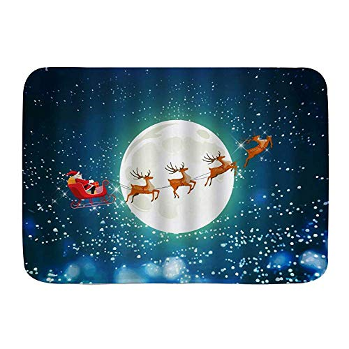 Bath Mat Rug,Christmas Santa Claus Reindeer Sled Snowflake Winter Full Moon Night Cartoon,Plush Bathroom Decor Mats with Non Slip Backing 29.5' X 17.5'