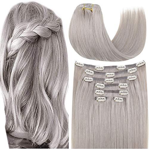 Hetto Extension a Clip Cheveux Lisse Naturel Argent Double Weft Extensions a Clip en Cheveux Humain Remy Hair Clip in Hair Extensions Lisse Vrais Cheveux Pour Femme 14 Pouces 7 Pièces 100g par Paquet