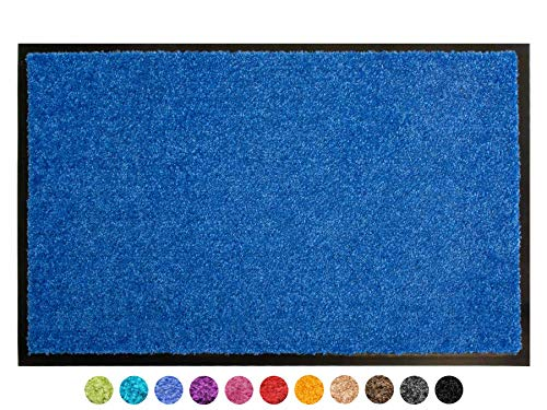 Primaflor - Ideen in Textil Schmutzfangmatte CLEAN – Blau 40x60 cm, Waschbare, rutschfeste, Pflegeleichte Fußmatte, Eingangsmatte, Küchenläufer Sauberlauf-Matte, Türvorleger für Innen & Außen