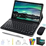 Tablet 10.1 inch, 2 in 1 Tablet with Keyboard Case Quad Core 1.3Ghz Processor, Android 9.0 GO Tablets, HD 1280 x 800 IPS Display, Type-C,BT4.2,WiFi,64GB Storage, Metal Body- (Black)