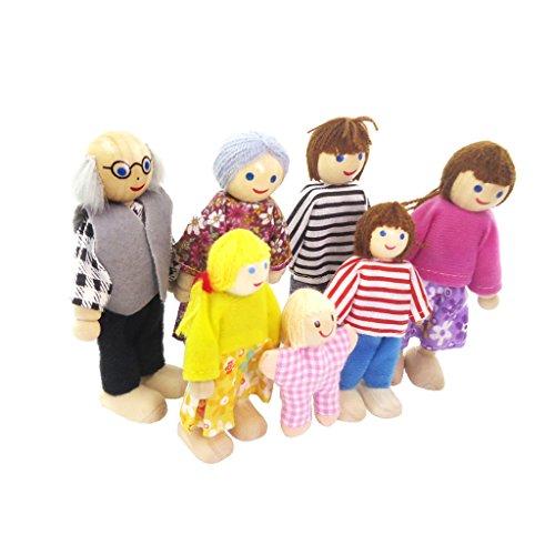 Sharplace 7 Personen Familie Puppen - Biegepuppen aus Holz & Stoff - Minipuppen für 1:12 Miniatur Puppenhaus Zubehör - Geschenk Spielzeug für Kinder
