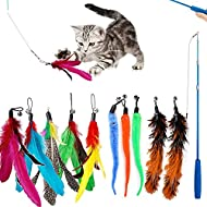 WeFine Cat Feather Toys,11Pcs Interactive Kitten Toys for indoor Cat Kitten,1 Retractable Cat Teaser...