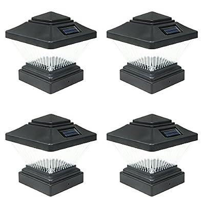 4 Pack Black/White Outdoor Garden 4 x 4 Solar LED Post Deck Cap Square Fence Light Landscape Lamp Lawn PVC Vinyl Wood