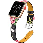 Secbolt Leather Bands Compatible Apple Watch Band 38mm 40mm Stainless Steel Buckle Replacement Slim Wristband Sport Strap for Iwatch Series 5 4 3 2 1, Floral A