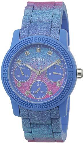 Guess Reloj rosado y azul del acero inoxidable del funfetti de la mujer W0944L2
