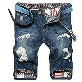 Lavnis Men's Fashion Casual Denim Shorts Moto Biker Distressed Shorts Jeans with Zipper Style 1 Blue 34