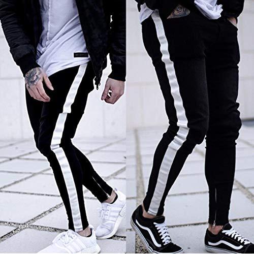 WQZYY&ASDCD Jeans Vaqueros Pantalon Pantalones De Mezclilla con Parche De Rodilla Plisados Y Desgastados...