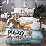 KIMDFACE Funda Edredón,Pin-up Wings 2 - Sylvester,Ropa de Cama Funda Nórdica,1(240x260cm)+2(50x80cm)...