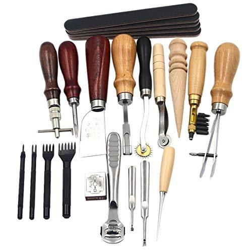 Kit de herramientas de cuero para coser y coser de 19 piezas, hecho a mano