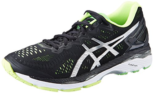 ASICS Men's Gel-Kayano 23 Black, Silver and Safety Yellow Running...