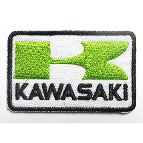 hotrodspirit – Textilpatch zum Aufbügeln, Motiv Kawasaki, rechteckig, 6,5 x 4 cm, Grün und Weiß