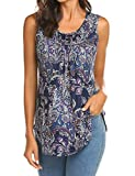 Halife Sleeveless Tops for Women, Paisley Print Pleated A Line Flare Hem Tank Shirts Purple,L