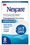 Nexcare Tegaderm Waterproof Transparent Dressing, Film, The #1 Hospital Brand, 8 Ct (Pack of 2), 2-3/8 In X 2-3/4 In