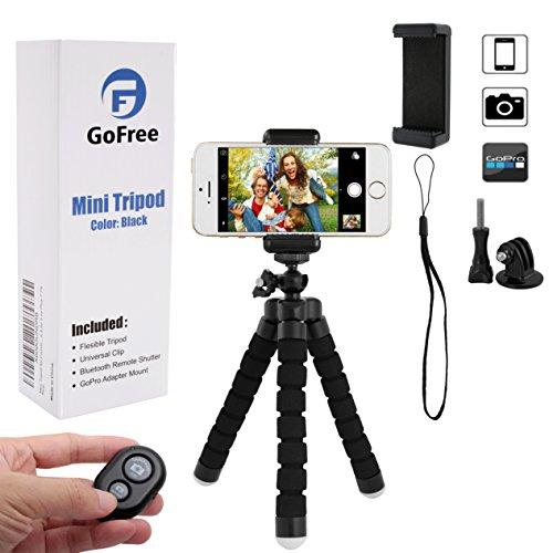 Handystativ, GoFree GoPro Stativ, tragbare Kamera-Halterung mit Fernauslöser, Flexibler Schreibtisch-Reise-Stativ für iPhone 6 6S 5 5S Plus 7 7S Digitalkamera GoPro Hero 5/4/3 Handy