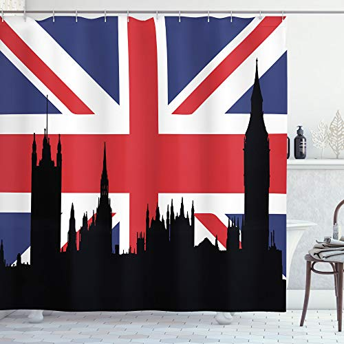 "Ambesonne Union Jack Shower Curtain, Houses of The Parliament Silhouette on UK Flag Historic Urban Skyline, Cloth Fabric Bathroom Decor Set with Hooks, 70"" Long, Royal Blue"
